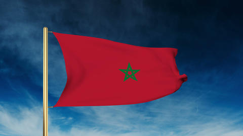Morocco flag slider style. Waving in the wind with cloud background animation Animation