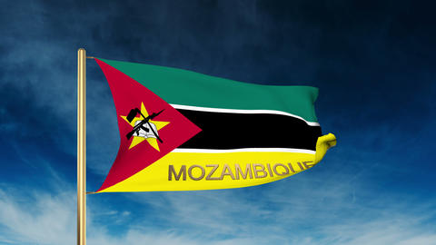 Mozambique flag slider style with title. Waving in the wind with cloud backgroun Animation