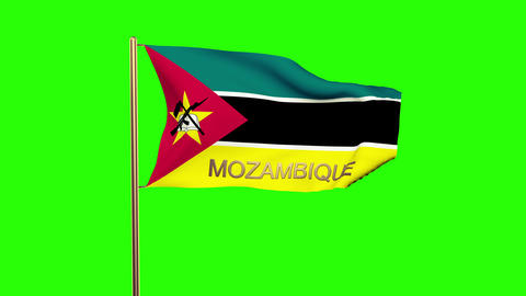 Mozambique flag with title waving in the wind. Looping sun rises style. Animatio CG動画
