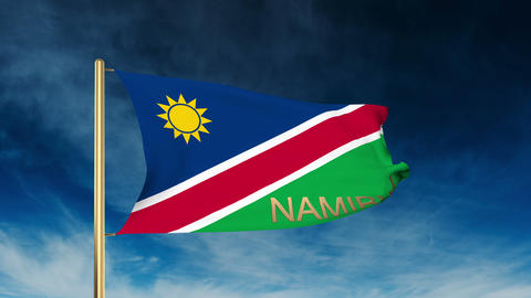Namibia flag slider style with title. Waving in the wind with cloud background a Animation