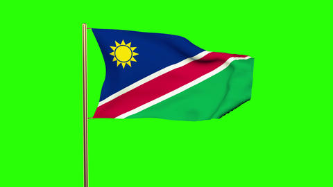 Namibia flag waving in the wind. Green screen, alpha matte. Loopable animation Animation