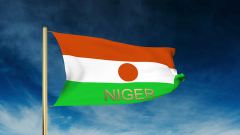 Niger flag slider style with title. Waving in the wind with cloud background ani Animation