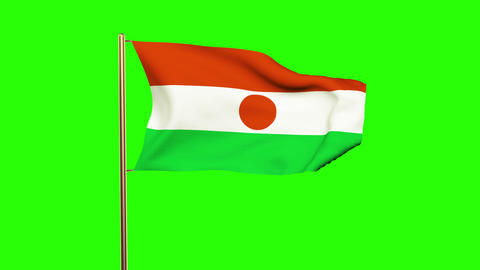 Niger flag waving in the wind. Green screen, alpha matte. Loopable animation Animation