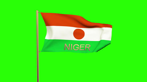 Niger flag with title waving in the wind. Looping sun rises style. Animation loo Animation