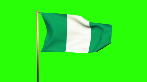 Nigeria flag waving in the wind. Green screen, alpha matte. Loopable animation Animation
