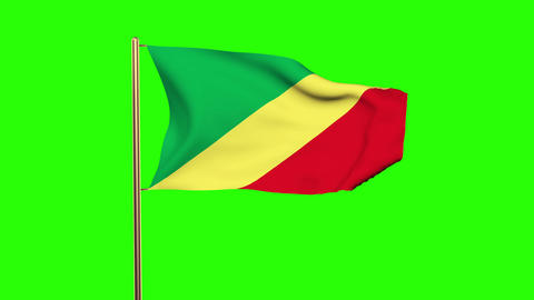 Republic of the Congo flag waving in the wind. Green screen, alpha matte. Loopab Animation