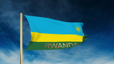 Rwanda flag slider style with title. Waving in the wind with cloud background an Animation