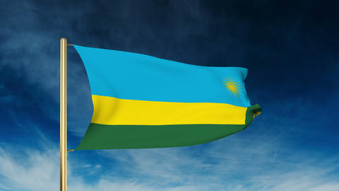 Rwanda flag slider style. Waving in the wind with cloud background animation Animation