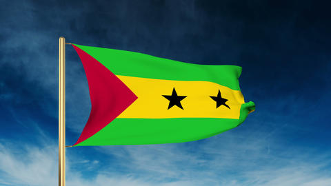 Sao Tome and Principe flag slider style. Waving in the wind with cloud backgroun Animation