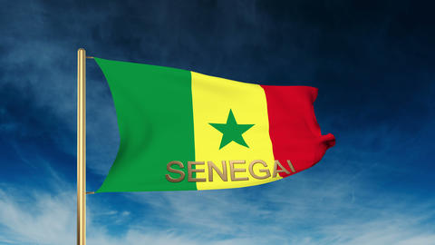 Senegal flag slider style with title. Waving in the wind with cloud background a Animation