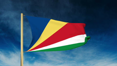 Seychelles flag slider style. Waving in the wind with cloud background animation Animation