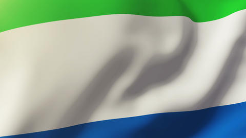 Sierra Leone flag waving in the wind. Looping sun rises style. Animation loop Animation