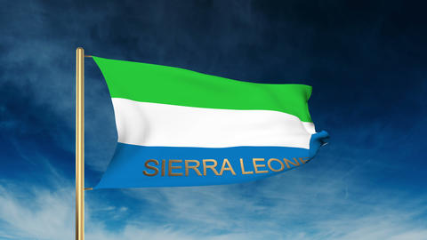 Sierra Leone flag slider style with title. Waving in the wind with cloud backgro Animation