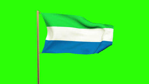 Sierra Leone flag waving in the wind. Green screen, alpha matte. Loopable animat Animation