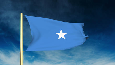Somalia flag slider style. Waving in the wind with cloud background animation Animation