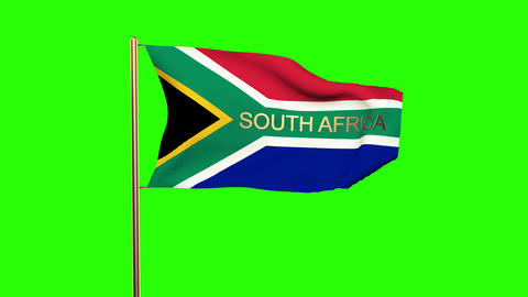 South Africa flag with title waving in the wind. Looping sun rises style. Animat Animation