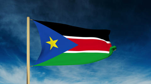 South Sudan flag slider style. Waving in the wind with cloud background animatio Animation