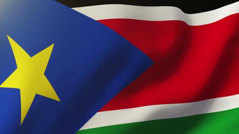 South Sudan flag waving in the wind. Looping sun rises style. Animation loop Animation