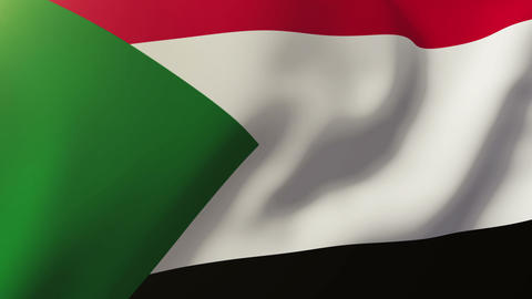 Sudan flag waving in the wind. Looping sun rises style. Animation loop Animation