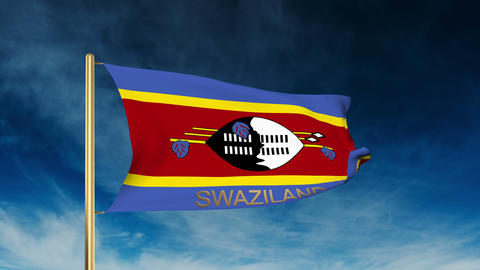 Swaziland flag slider style with title. Waving in the wind with cloud background Animation