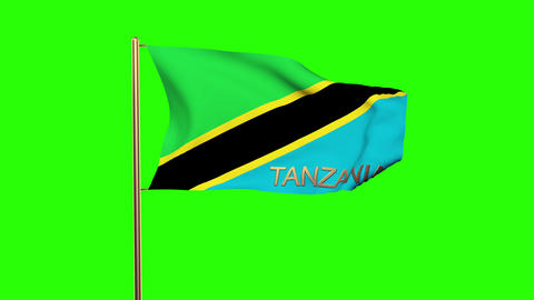Tanzania flag with title waving in the wind. Looping sun rises style. Animation  Animation