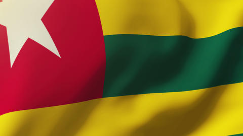 Togo flag waving in the wind. Looping sun rises style. Animation loop Animation