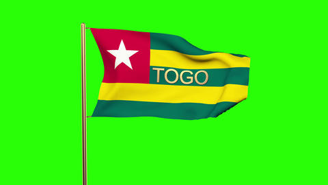 Togo flag with title waving in the wind. Looping sun rises style. Animation loop Animation