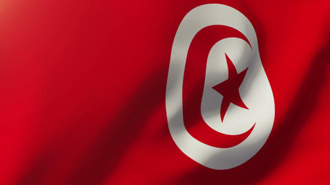 Tunisia flag waving in the wind. Looping sun rises style. Animation loop Animation