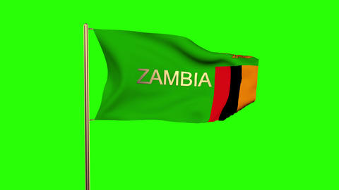 Zambia flag with title waving in the wind. Looping sun rises style. Animation lo Animation