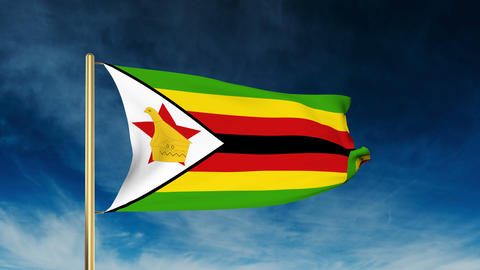 Zimbabwe flag slider style. Waving in the wind with cloud background animation CG動画