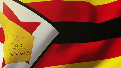Zimbabwe flag waving in the wind. Looping sun rises style. Animation loop Animation