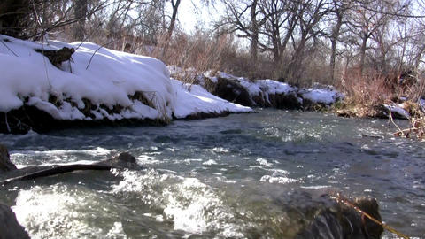 (Seamless Loop) Loop Seamless Snowmelt Stream Flowing Live Action