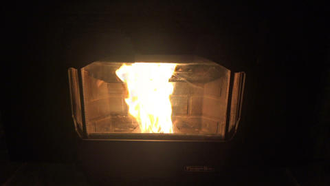 (Perfect Loop) Blazing Fire from Wood Pellet Stove Footage