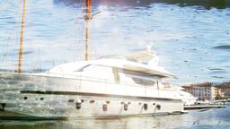 super boat sailing luxury yacht Footage