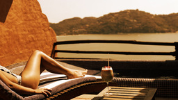 bikini model sunbed with cocktail Footage