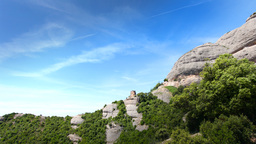 Montserrat Mountains Nature Rock Cliff Spain stock footage