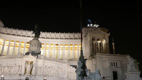 Monumento a Vittorio Emanuele II (Vittoriano). Night. Rome, Italy Footage