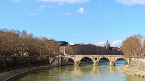 Bridge over the Tiber, Sisto. Rome, Italy. Time Lapse Footage