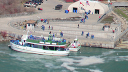 tourists boats at niagara falls usa canada Footage