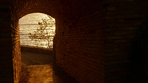 Sunrise Golden Waters at the End of the Tunnel Footage