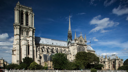 notre dame cathedral timelapse on sunny day paris france Footage