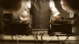 Stylish Old Man Mixing Records Gramophone stock footage