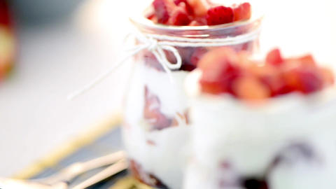 Strawberries Desert With Cream stock footage
