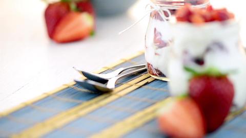 Strawberries Desert With Cream stock footage