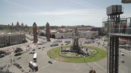 traffic roundabout barcelona city tourist traffic Footage
