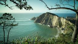 playa del silencio asturias spain beach hidden coast ocean sea Footage