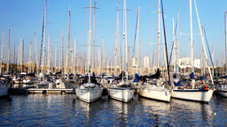port olympic barcelona spain harbour marina mediterranean boats sea Footage