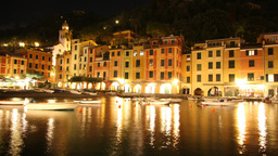 portofinoharbour at night italy Footage