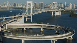 tokyo japan city rainbow bridge skyline harbour Footage