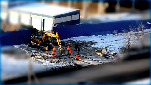 yellow excavator Stock Video Footage